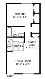 1 Bed / 1 Bath / 540 sq ft
