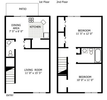 2 Bed / 1½ Bath / 810 sq ft
