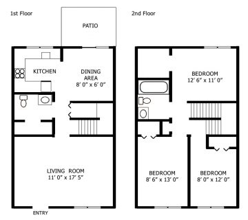 3 Bed / 1½ Bath / 900 sq ft